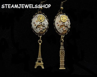 "Steampunk earrings""Paris London""Steampunk ""LONDON PARIS"" D28 Earrings"