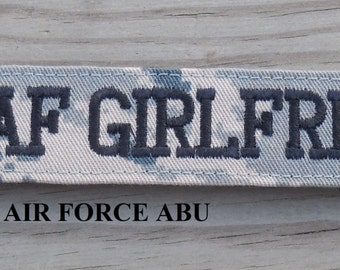 Military Girlfriend Name Tape, Army ACU, Air Force ABU, Navy NWU, Marine Woodland, Marine Marpat or MultiCam, Name Tapes or Tags
