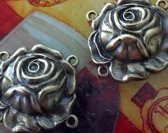 antique brass rose connectirs 4 pc