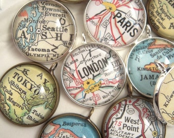 """Custom Vintage Map Charms Drops Pendants, 3/4"""" 20mm Custom Map Jewelry, Map Pendant Necklace, Personalized Gifts Ideas"""