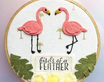 Birds of a Feather - Felt Hoop Art