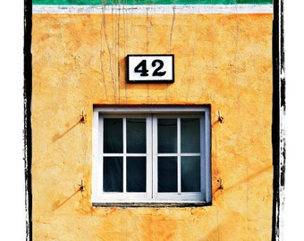 42 - Fine Art Print of Yellow and Green Building With Window and Sign