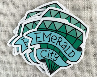 Emerald City Vinyl Sticker / Seattle Washington Sticker / Modern Sticker / Laptop Sticker / Northwest Sticker / Emerald Sticker / Waterproof