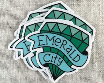 Emerald City Vinyl Sticker / Seattle Washington Sticker / Modern Sticker / Laptop Sticker / Northwest Sticker / Emerald Sticker / Waterproof