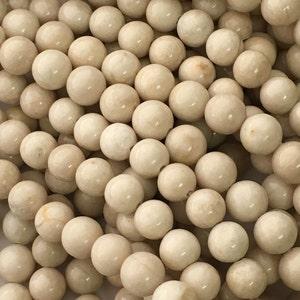 Fossil Stone, Gemstone Beads, Off White, 4mm-12mm, 8mm Beads, 6mm Beads, Beads for Jewelry Making, Beads for Bracelets, Natural Stone, Cream