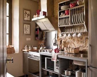 Dish rack plate racks kitchen storage counter cabinet shelf small pantry insert sun lit window open display shelving repurposed wine crates & Plate rack | Etsy