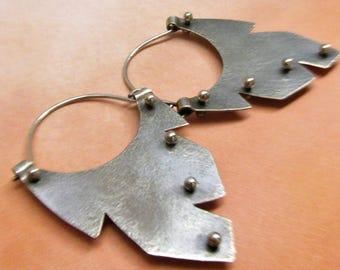 Hoop Earrings, Large Sterling Silver Earrings, Argentium Earrings, Feather Earrings, Southwest Earrings, Tribal Earrings, Metalwork Earrings