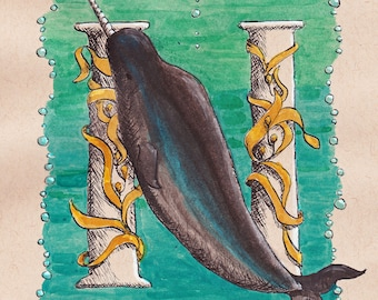 N is for Narwhal - Illuminated Letter - Under the Sea - Marine Mammal