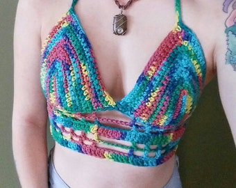 Crochet Bralette / Rainbow Festival Top / Rainbow Crochet Bralette / Rainbow Bralette / Crochet Crop Top / Rainbow Crop Top / Size sm/md