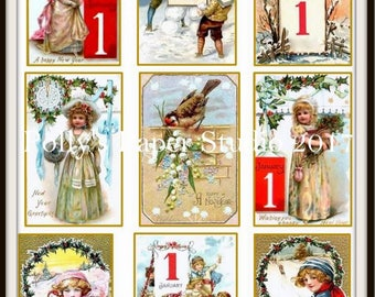 Dollar Download Vintage New Years Collage Digital Images printable download file 9 images Polly's Paper Studio