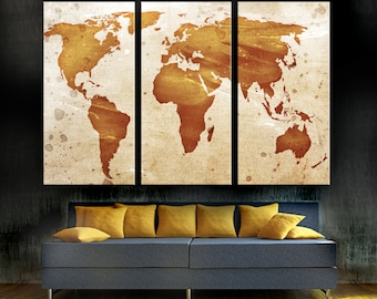 Raffia beige silver world map canvas print 3 panel split light orange world map canvas print 3 panel split triptych wall art for home gumiabroncs Images