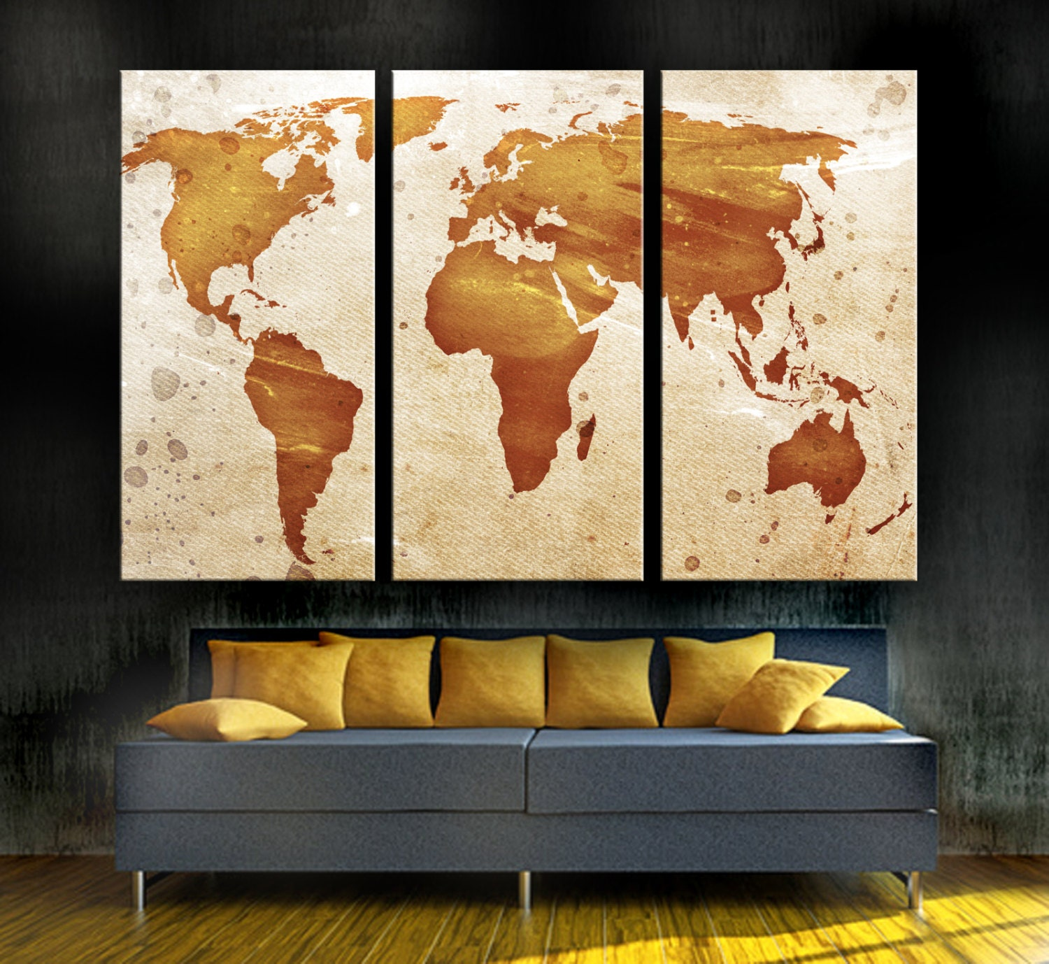 Light orange world map canvas print 3 panel split triptych zoom gumiabroncs Image collections