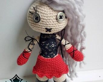 Gothic Voodoo Inspired Art Doll , Goth Amigurumi Doll, Crochet Doll - Sphinx