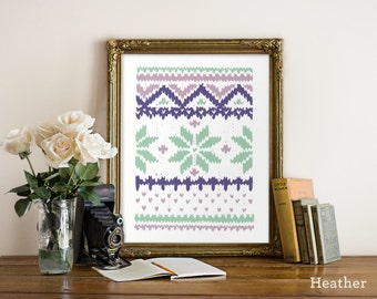 Knit Snowflake Giclee Print Various Colors & Sizes - Woodcut Style - A gift for knitter, Knitting gift featuring snowflake pattern