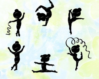 Sport, Little Girl Gymnasts svg, dxf, eps, studio v3, jpg, png, file for Silhouette cameo, curio, cut file for cutting machines, download