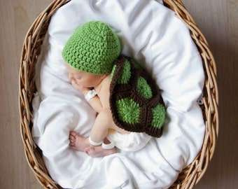 Crochet Turtle Blanket, Brown and Green Baby Blanket, Turtle Blanket and Green Cap, Made to Order