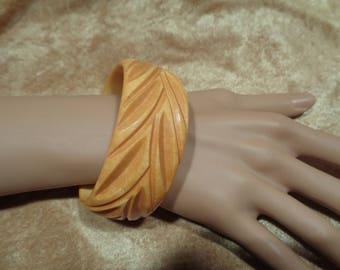 Bakelite Bracelet Wide Deeply Carved Bakelite Bangle Bakelite Jewelry Yellow Marbled Carved Bakelite Bracelet