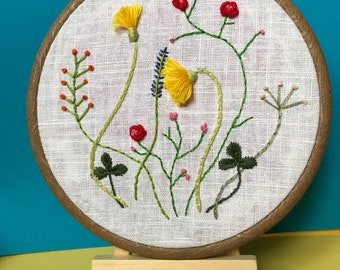 Wildflowers. Modern Embroidery Hoop