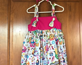 Shopkins Dress eith matching Hair Bow Size 3-4