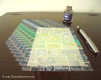 The Blues, Too - Writing Paper Wallet • Stamp Art Letter Writing Set