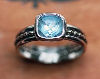 Aquamarine ring silver, sterling silver aquamarine ring, cushion cut ring, oxidized silver ring, March birthstone ring, Blue Crush custom