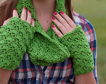 PDF Crochet Pattern - Lastura Cowl and Fingerless Gloves