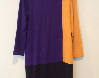 1980s Color Block Dress
