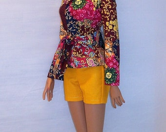 Couleur Soleil* Ooak set/ Jacket and short/ Earrings and head scarf/  for American Model 22'inch Doll/ and BJD