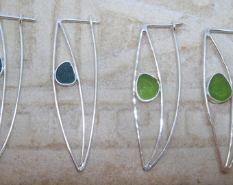 Sea Glass Earrings - Sea Glass and Sterling Silver Earrings, Teal, Lime Green