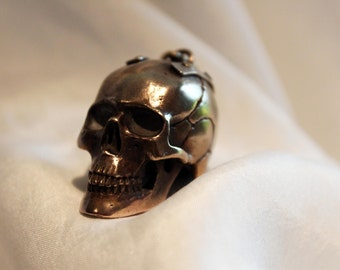Heavy Brass And Silver Skull Pendant