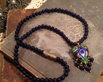 Vintage Enamel Double Sided Heart Beaded Necklace