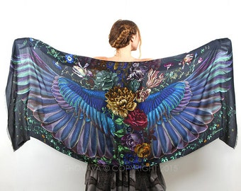 Silk Shawl, Large Silk Scarf, Wing Shawl, Wings Scarf, Cashmere Shawl, Floral Scarf, Flower Shawl, Boho Shawl, Women Shawl, Oversized Scarf