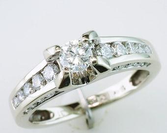3/4ct Diamond 18K White Gold Channel Set Engagement Wedding Ring