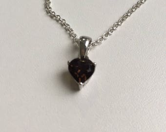 Smokey Quartz Heart Pendant Necklace