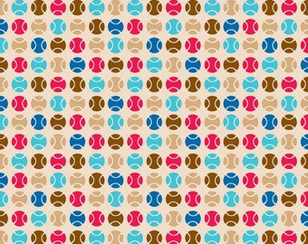 SALE Puppy Love Dots Tan - Riley Blake Designs - Brown Balls Sports Games - Quilting Cotton Fabric - choose your cut