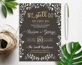 We Still Do Vow Renewal Invitation, Vow Renewal Wedding Invitation, Wedding Anniversary, Anniversary Party Invitation, Renew Vows