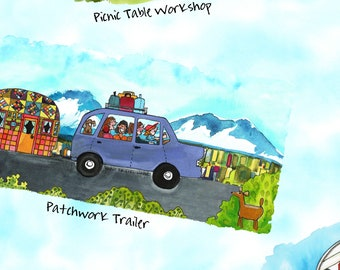 Quilter's Road Trip - Per yard -Maywood Studio - Kathy Deggendorfer -Tossed campers and trailers on sky blue- Camping! Outdoors! Adventures!