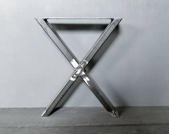 Set of 2- X legs, coffee table legs, bench x legs, side table, metal legs, metal base, furniture legs
