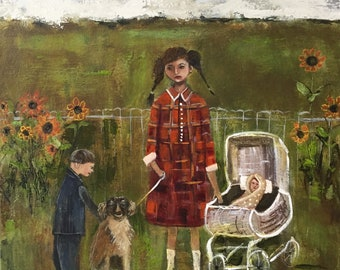 """Original painting """"Sister Was Responsible"""" mixed media on canvas 16 x 20 inch, folk art, figurative art, sister and brother, childhood art"""