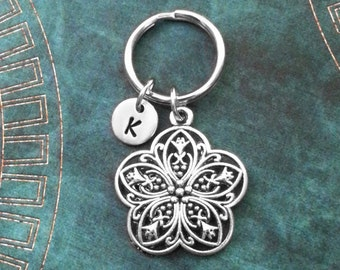 Flower Keychain Ornamental Flower Keyring Filigree Flower Charm Keychain Bridesmaid Keychain Girlfriend Keychain Celtic Flower Filigree