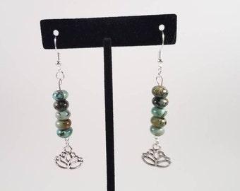African Turquoise Earrings. Blue Green Earrings. Lotus Earrings. Silver Earrings. Gypsy Earrings. Tribal Earrings. Turquoise Earrings.