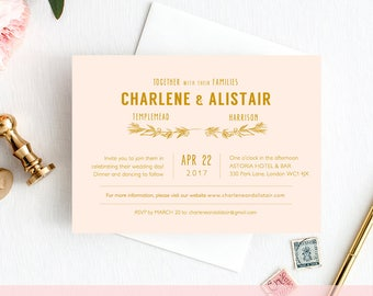 Blush gold wedding Invitation template, or any colours! printable wedding invitation, 'Ellen' | DIY Editable printable template