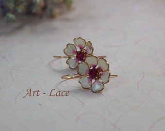 Pink Rose Gold stud earrings for women Sakura earrings Japanese earring Cherry Blossom earrings Bridal flower copper earrings Copper jewelry