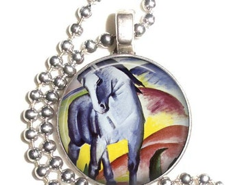 The Blue Horse by Franz Marc, Altered Art Pendant, Earrings and/or Keychain, Round Photo Silver and Resin Charm Jewelry