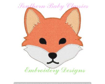 Fox Face Blanket Stitch Applique Embroidery Design Designs File Embroidery Machine Instant Download Fall Autumn Southern Hunt Winter