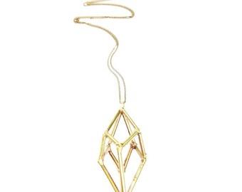 Brass Geometric Prism Necklace