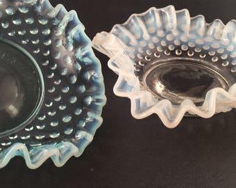 Vintage Fenton Blue Opalescent Hobnail Dish/ Vintage Fenton White Opalescent Hobnail Dish/ Fenton Opalescent Bowls Various Colors/ Fenton