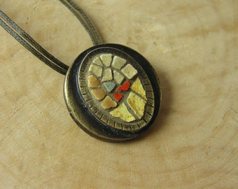 Mosaic Pendant 1 inch, Mosaic Accessories, Mosaic Art Jewelry, Statement Jewelry, Boho, Bohemian Ethnic Mediterranean Pendant
