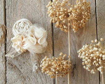 Bridal Hair Flower, wedding wrist corsage,  Bridal  Hair clip , Wedding Hair Flower, Fascinator, bridal hair pin, tan wrist corsage