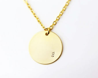 Personalized Large Matte Disk Initial Necklace  / Customized Initial Necklace / Bridesmaids Gift